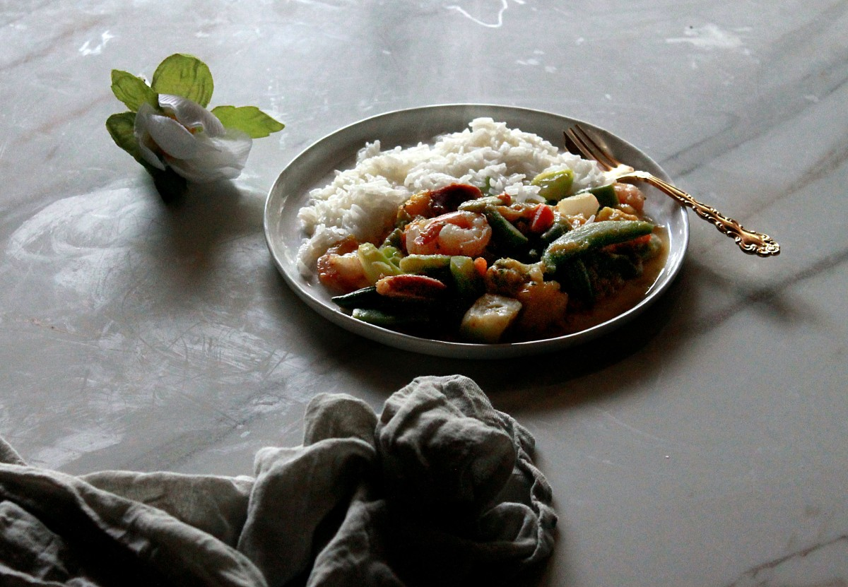 mango stir fry + shrimp & sausage